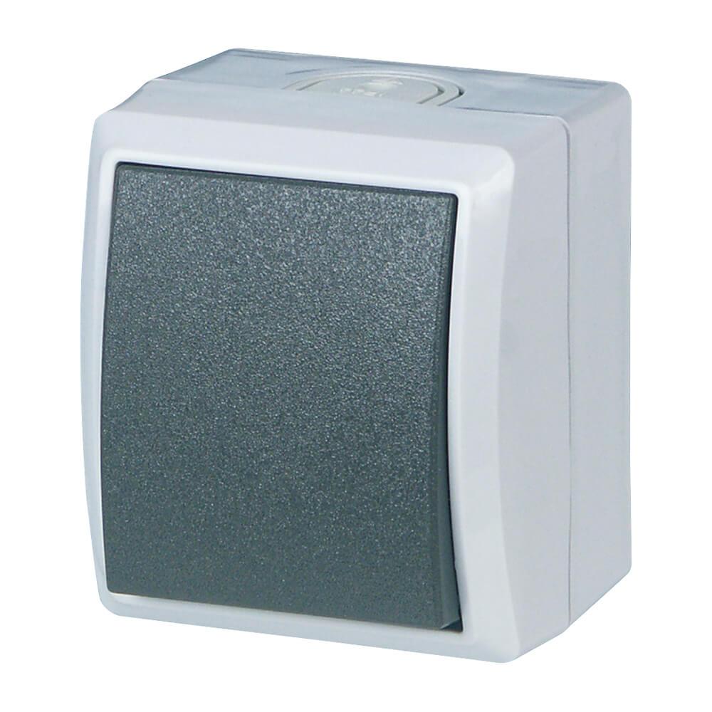 AquaForm Kreuzschalter für feuchte Räume, grau