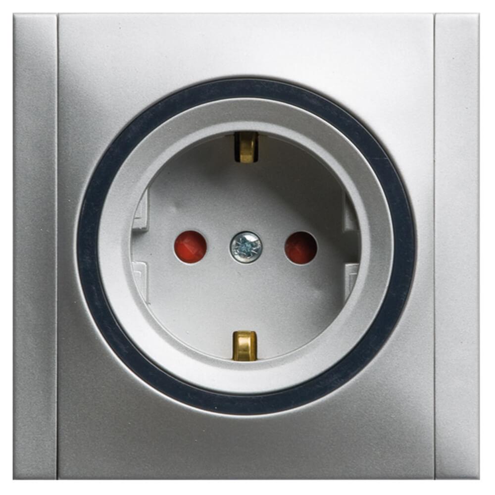 Ascoli Steckdose mit erhöhtem Berührungsschutz und Rahmen titan-grau