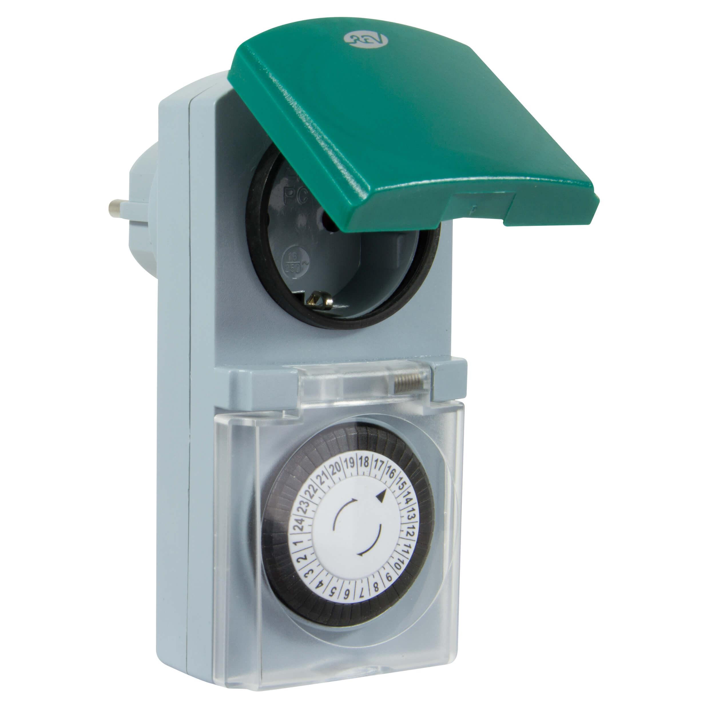 Zeitschaltuhr mechanisch für den Außenbereich, spritzwassergeschützt, bis 3680W, 48 Schaltzeiten am Tag
