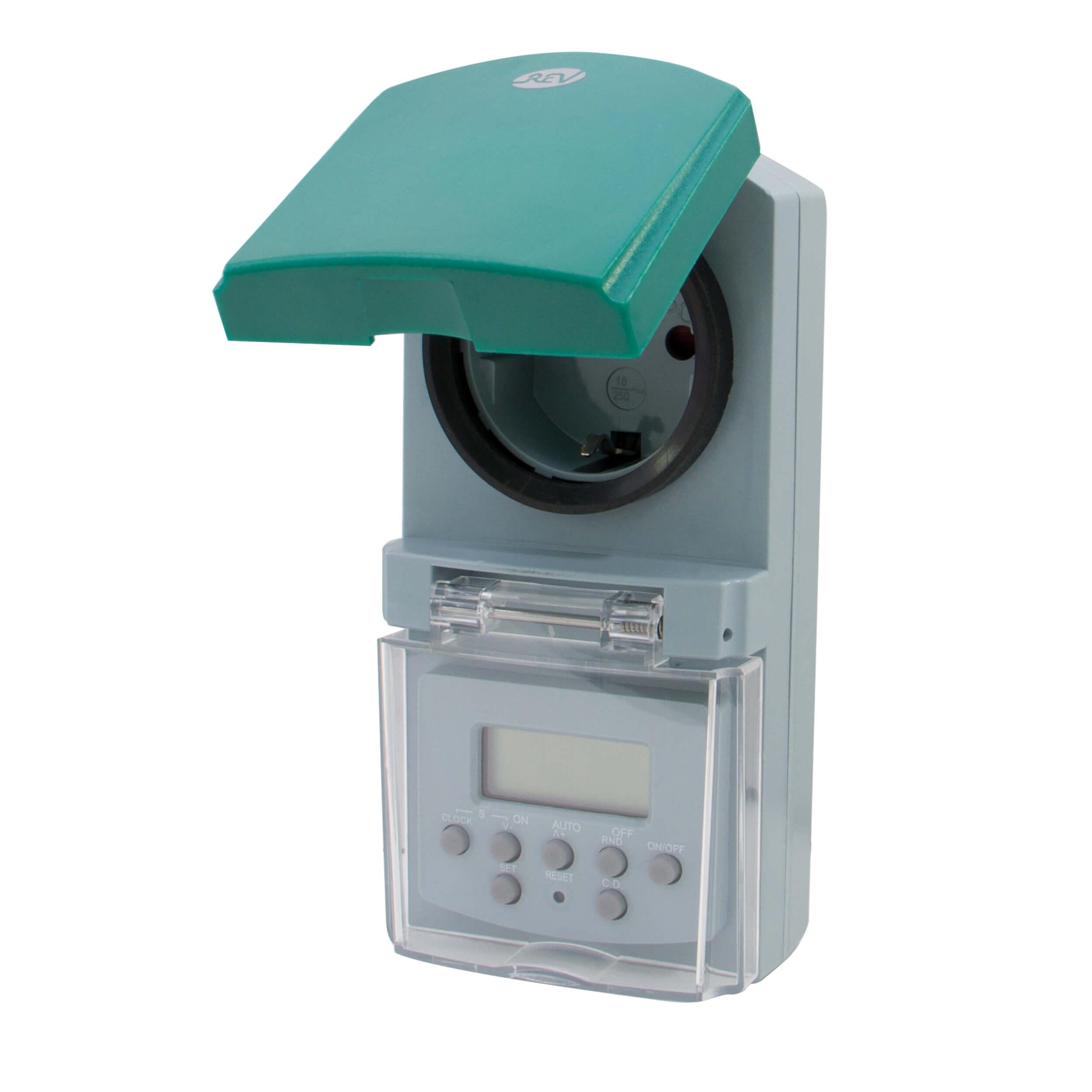 Zeitschaltuhr digital für den Außenbereich, spritzwassergeschützt, bis 1800W, 20 Schaltzeiten am Tag