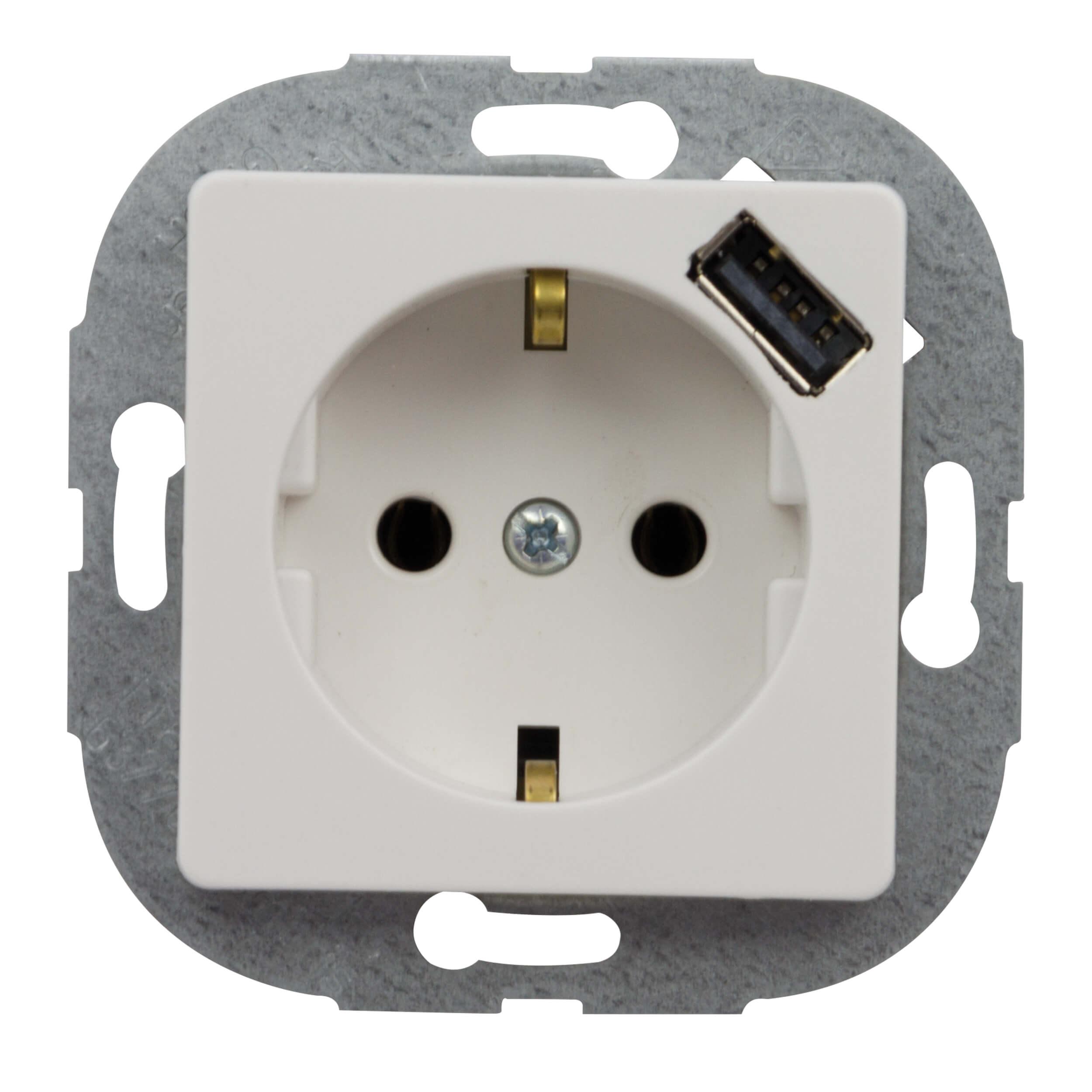 PrimaLuxe Steckdose mit 1 USB Anschuss weiss